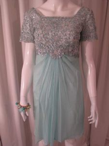 1960's Aquamarine sequin and chiffon vintage cocktail dress Emma Domb.